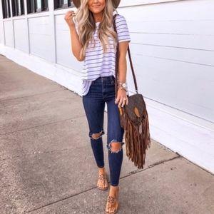 Free People | Busted Knee Skinny Distressed Jeans